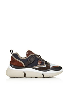 Chloé - Women's Sonnie Lace-Up Leather & Suede Sneakers
