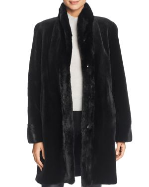 MAXIMILIAN FURS Reversible Sheared Mink Fur Coat in Black