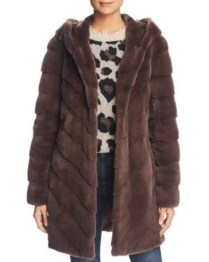 MAXIMILIAN FURS Hooded Plucked Mink Fur Coat - 100% Exclusive in Grey