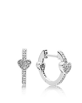 Pandora Alluring Hearts Sterling Silver Cubic Zirconia Hoop Earrings
