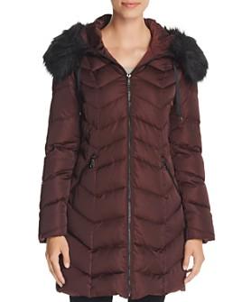 T Tahari - Gwen Faux Fur Trim Quilted Puffer Coat