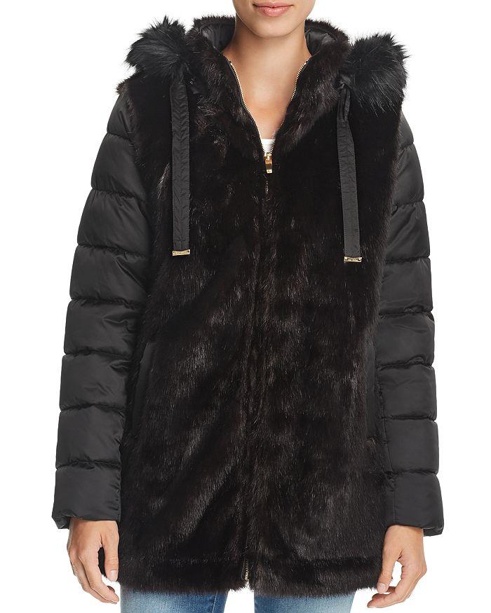 Via Spiga Mixed Media Faux Fur Amp Puffer Coat In Black