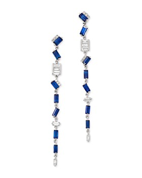 KC Designs - 14K White Gold Mosaic Diamond & Sapphire Baguette Earrings
