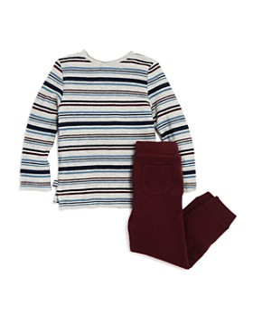 Splendid - Boys' Striped Knit Tee & Terry Jogger Pants Set - Little Kid