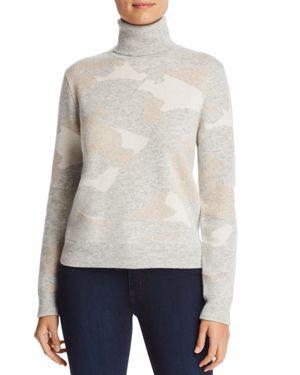 MAJESTIC Camo Print Turtleneck Sweater in Grey