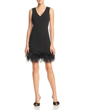 Feather-Trimmed Dress - 100% Exclusive, Black