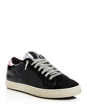 P448 - Women's John Embossed Patent Leather & Suede Lace-Up Sneakers