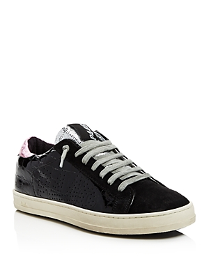 P448 WOMEN'S JOHN EMBOSSED PATENT LEATHER & SUEDE LACE-UP SNEAKERS