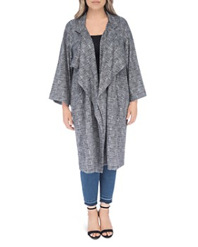 B Collection by Bobeau Curvy - Petra Houndstooth Long Cardigan