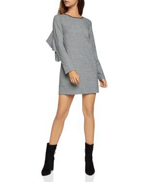 BCBGENERATION Tweed Long-Sleeve Ruffle Shift Dress in Black