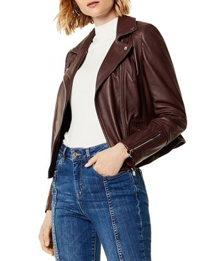 KAREN MILLEN Signature Leather Biker Jacket in Aubergine