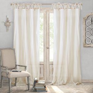 Elrene Home Fashions Jolie Semi-Sheer Pleated Curtain Panel, 52 x 84