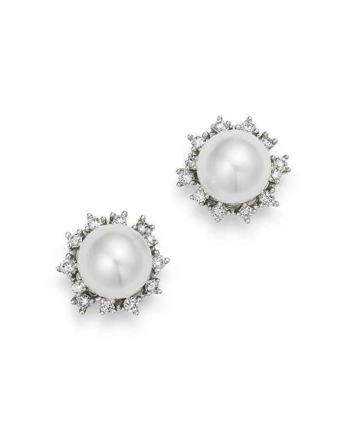 Diamond Cultured Freshwater Pearl Stud Earrings In 14k White Gold 100 Exclusive