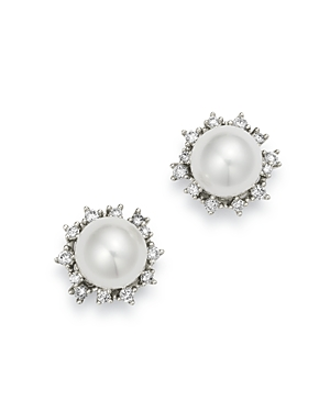 Bloomingdale's Diamond & Cultured Freshwater Pearl Stud Earrings in 14K White Gold - 100% Exclusive