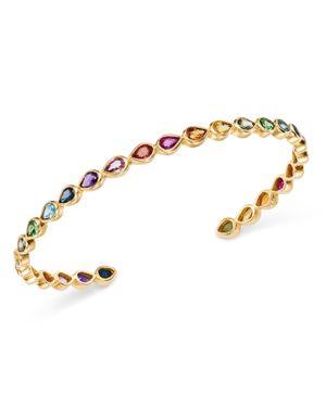 SheBee 14K Yellow Gold Sapphire, Blue Topaz, Amethyst & Tsavorite Rainbow Cuff Bracelet