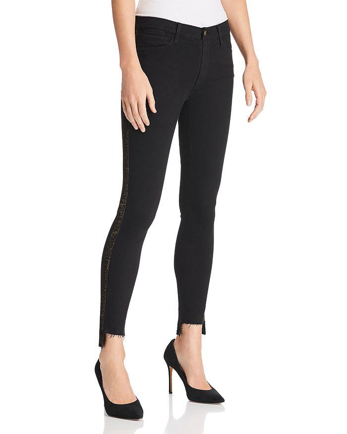 FRAME - Le High Skinny Velvet-Tuxedo-Stripe Skinny Jeans in Noir - 100% Exclusive