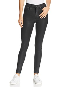 rag & bone/JEAN - High-Rise Coated Skinny Jeans in Shiny Black