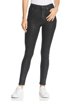 High Rise Coated Skinny Jeans In Shiny Black by Rag & Bone/Jean