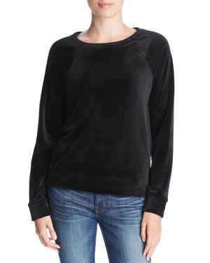 MARC NEW YORK Luxe Stretch Velvet Raglan Sweatshirt in Black