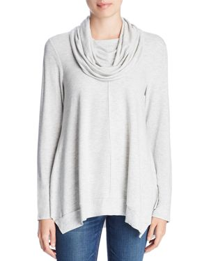 CUPIO Cowl-Neck Tunic Top in Heather Gray