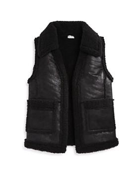 Splendid - Girls' Sherpa Faux-Leather Vest - Big Kid