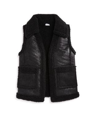 Splendid Girls' Sherpa Faux-Leather Vest - Big Kid