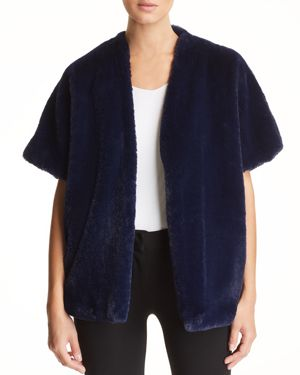 CAPOTE Faux-Fur Shrug in Indigo