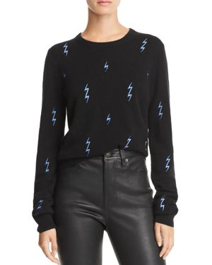 Shirley Lightning-Bolt Cashmere Sweater in Black