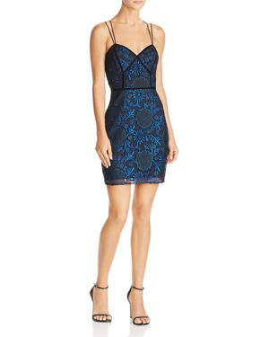 GUESS Adina Metallic-Lace Dress in Jet Black Multi