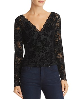 GUESS - Drea Sheer Flocked Lace Top
