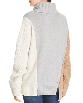 FRENCH CONNECTION - Viola Knits Deconstructed Color-Blocked Turtleneck Sweater