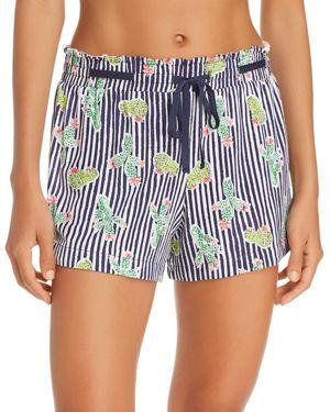 JANE & BLEECKER NEW YORK Printed Pajama Shorts in Navy Stripe