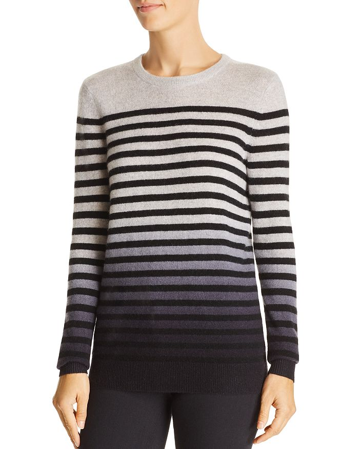 C by Bloomingdale's - Dip-Dye Striped Cashmere Sweater - 100% Exclusive