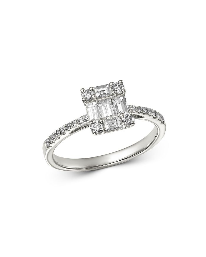 Bloomingdale's - Diamond Baguette Mosaic Engagement Ring in 14K White Gold, 0.75 ct. t.w. - 100% Exclusive