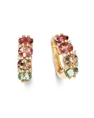 Multicolor Tourmaline & Diamond Hoop Earrings In 14 K Yellow Gold   100 Percents Exclusive by Bloomingdale's