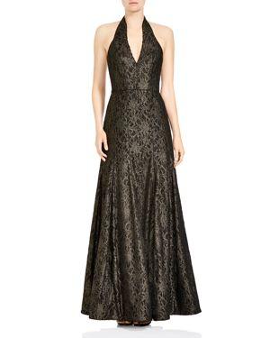 Halston Heritage Halter Deep Slit Neck Metallic Lace Gown