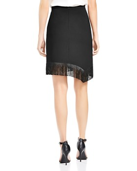 HALSTON HERITAGE - Fringed Floral-Embroidered Crepe Skirt