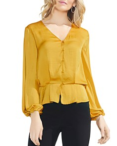 VINCE CAMUTO - Blouson Button Peplum Top