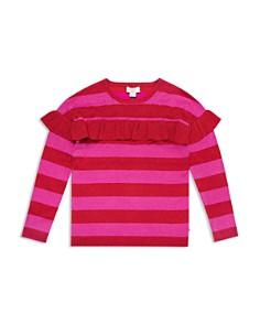 kate spade new york - Girls' Ruffled Metallic-Knit Striped Sweater - Big Kid