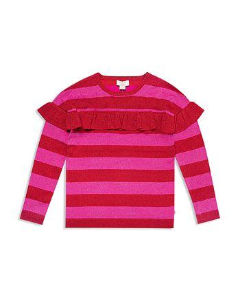 3f2a73ee2d9d8 kate spade new york - Girls  Ruffled Metallic-Knit Striped Sweater - Big Kid