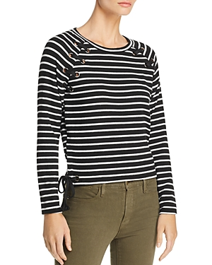Generation Love KATH LACE-UP STRIPED TEE