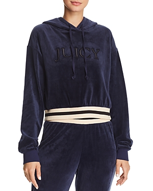 Juicy Couture Black Label Luxe Velour Logo Hoodie