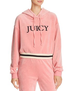 JUICY COUTURE BLACK LABEL Luxe Velour Logo Hoodie in Blush