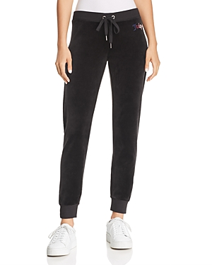 Juicy Couture Black Label Gothic-Logo Velour Sweatpants