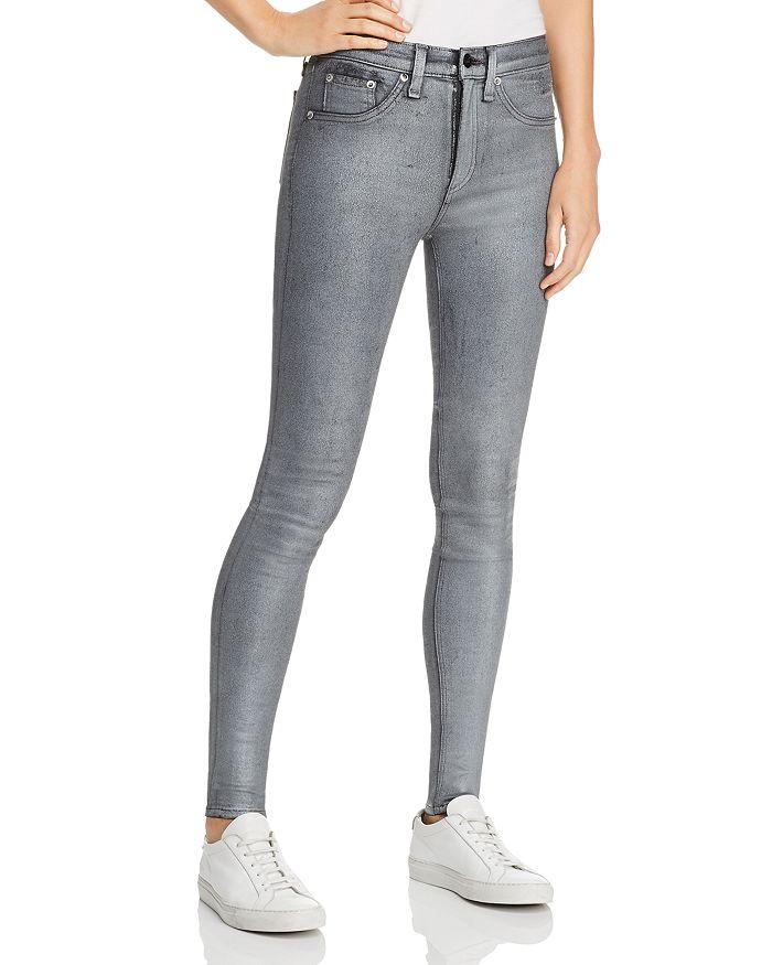 rag & bone/JEAN - High-Rise Coated Ankle Skinny Jeans in Gunmetal