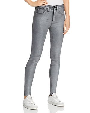 rag & bone/Jean High-Rise Coated Ankle Skinny Jeans in Gunmetal