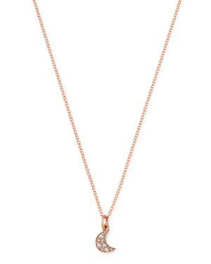 DODO Moon Brown Diamond Pendant Necklace, 15.7 in White/Rose Gold