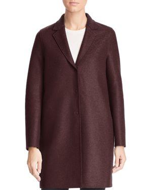 HARRIS WHARF Virgin Wool Overcoat in Bordeaux
