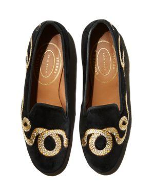 STUBBS & WOOTTON Women'S Cobra Velvet Loafers in Black