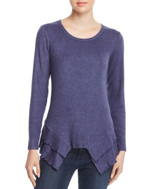 STATUS BY CHENAULT Status By Chenault Tiered Ruffle Trim Sweater in Blue